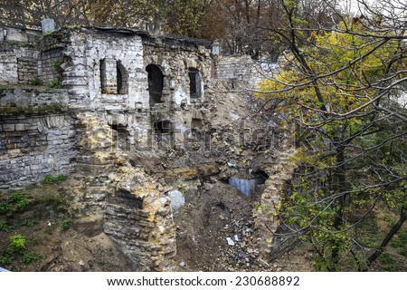 The ruins of the historic residential homes during the war and earthquakes and poor economic activities of municipal services - stock photo