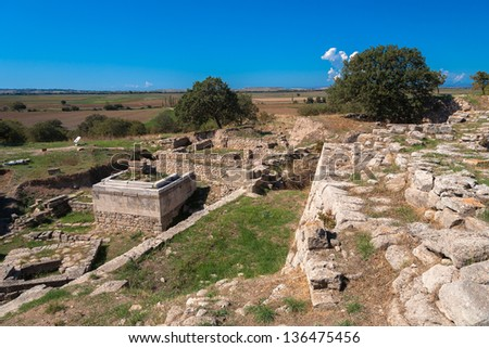 The ruins of the legendary ancient city of Troy. Turkey - stock photo
