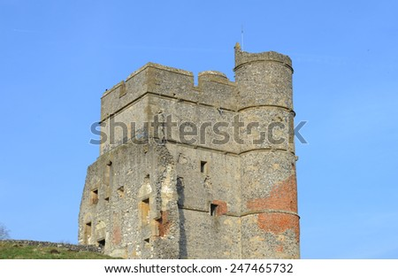 The Ruins of the Medieval Castle Donnington, overlooking the Lambourn Valley, situated in the Small Rural Village of Donnington, near Newbury, Berkshire, England, UK