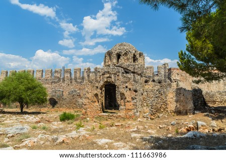 The ruins of the old fortress. Photo Close-up - stock photo