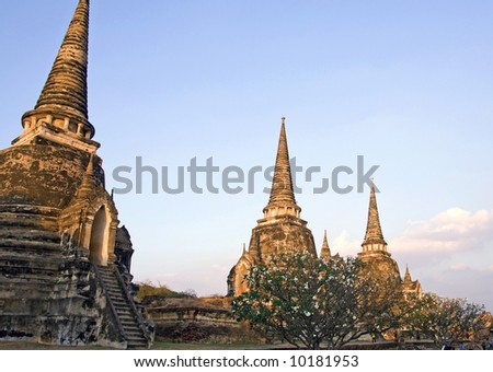 The ruins of the old walled city of Ayuttaya, the former capital of Thailand.