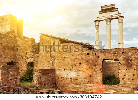 The ruins of the Roman Forum in Rome, Italy - stock photo