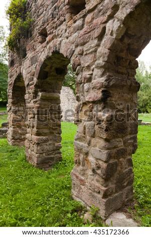 the ruins of the Romanesque church Cyriak at Camburg - stock photo