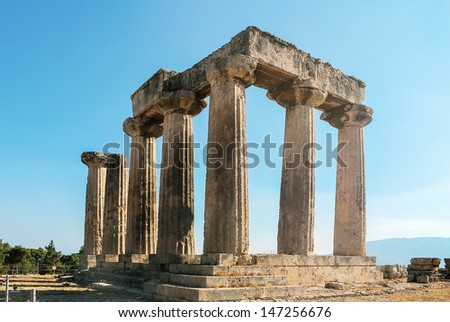 The ruins of the Temple of Apollo in ancient Corinth, Greece