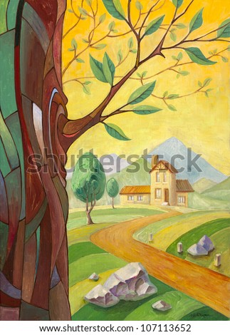 The rural landscape with the tree trunk with a young branch in a foreground and the road to small mansion far away. This is my artwork - the oil painting 70x50 cm. - stock photo