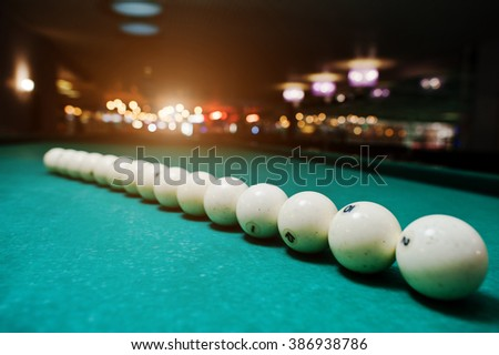 The russian billiards balls on the table in line - stock photo