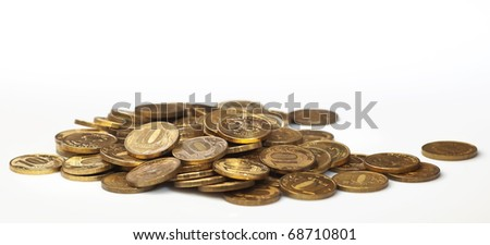 The Russian coins advantage on 10 roubles on a white background