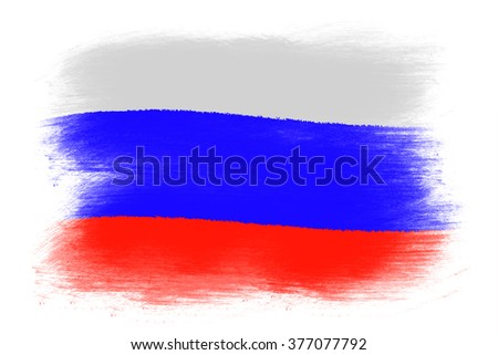 The Russian flag - Painted grunge flag, brush strokes. Isolated on white background.