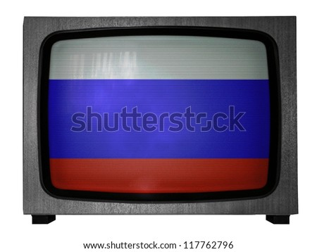 The Russian flag painted on old TV - stock photo