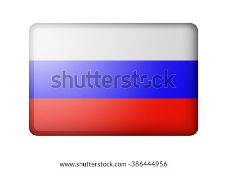 The Russian flag. Rectangular matte icon. Isolated on white background. - stock photo