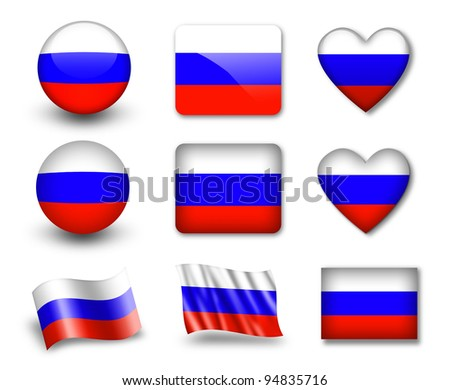 The Russian flag - set of icons and flags. glossy and matte on a white background. - stock photo