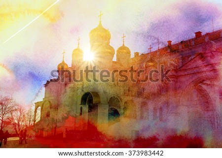 The Russian Orthodox Church in the Moscow Kremlin in Russia - stock photo