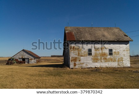 The rustic farmhouse in the Illinois countryside. - stock photo