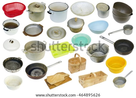 The rustic  used retro  dirty vintage kitchen equipment of the eightieth years of the twentieth century. Isolated set