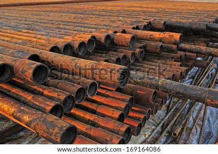 The rusty metal pipe  - stock photo