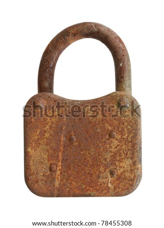The rusty padlock on a white background.