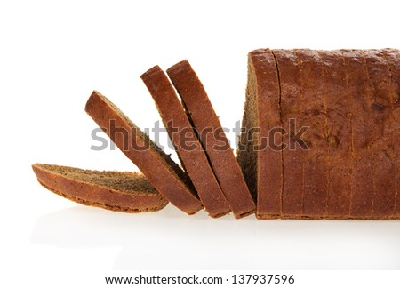 The rye bread slices isolated on white. - stock photo