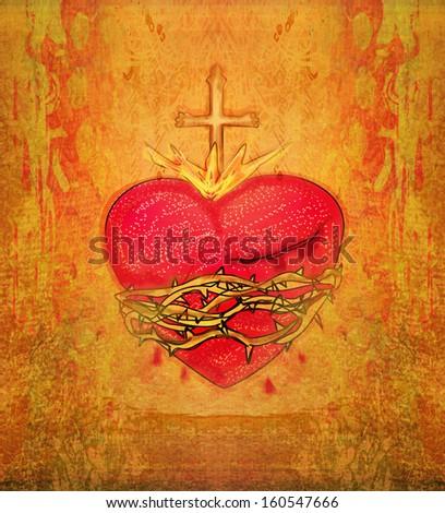 The Sacred Heart of Jesus on grunge background - stock photo