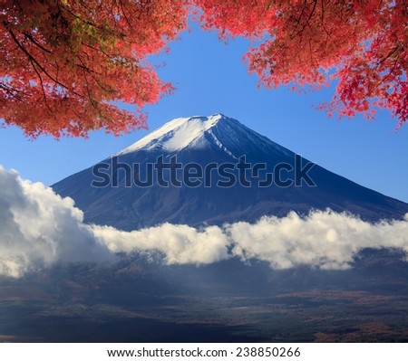 the sacred mountain of Fuji in the background of blue sky at Japan for adv or others purpose use - stock photo