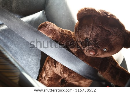 The safety belt in action of fastening with bear doll body represent the car safety part concept related idea.  - stock photo