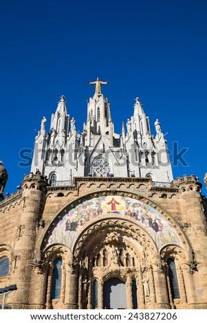 The Sagrat Cor church at the top of Mount Tibidabo in Barcelona - stock photo