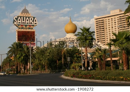 the Sahara Hotel in Las Vegas, NV - stock photo