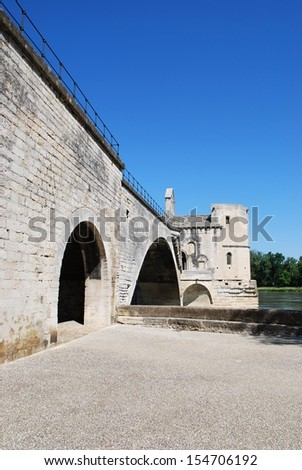 The Saint Benezet bridge on Rhone river in Avignon, Provence, France - stock photo