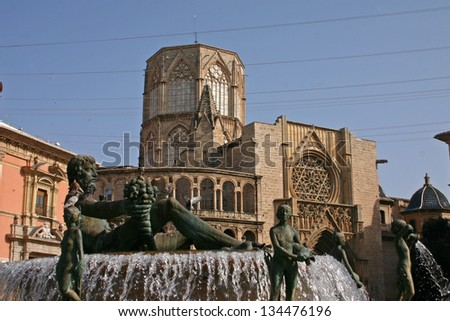 The Saint Mary's Cathedral or Valencia Cathedral in Spain is a Roman Catholic parish church - stock photo
