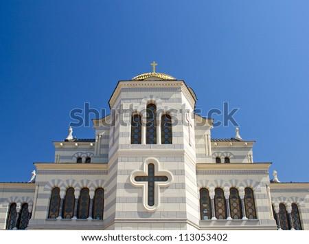 The Saint Vladimir Cathedral in Chersonesus. Crimea, Ukraine - stock photo