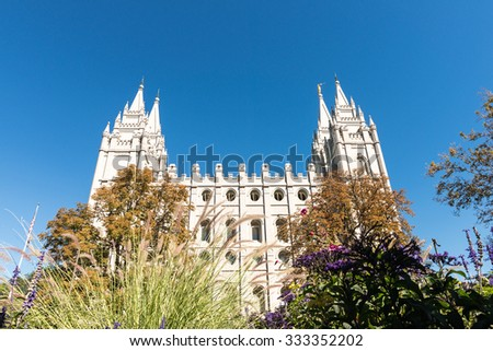 The Salt Lake Temple: a temple of The Church of Jesus Christ of Latter-day Saints located on Temple Square, Utah USA - stock photo