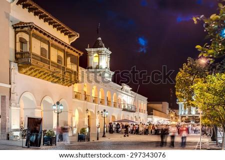 The Salta Cabildo, a colonial building in Salta, Argentina - stock photo