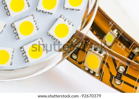 the same 3-chip LEDs on  strip and bulb GU10 - stock photo