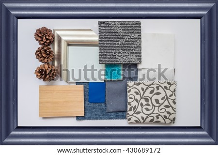 The sample of material color boards for interior design ideas with frame,Blue Color Schemes