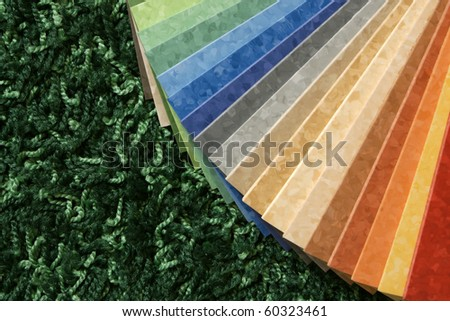 The samples of collection multicolored linoleum on green carpet background - stock photo