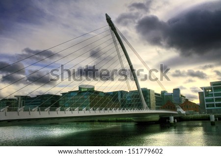 The Samuel Beckett Bridge in Dublin, Ireland  - stock photo