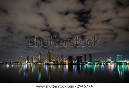 The San Diego downtown core at night - stock photo