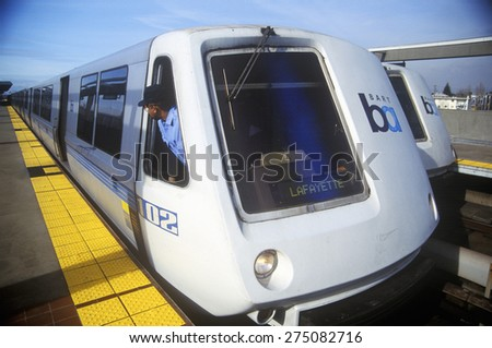 The San Francisco Bay Area Rapid Transit train, commonly referred to as BART, carries commuters to its next destination - stock photo