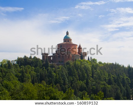 The San Luca Basilica (St. Lukes's Basilica) in Bologna, Italy during early morning.
