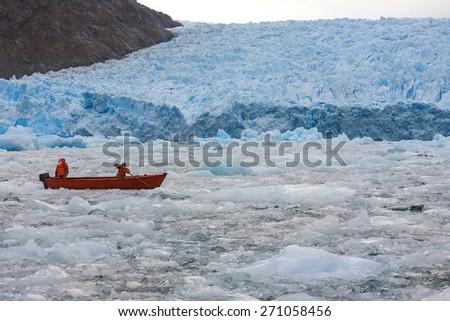 The San Rafael Glacier in Laguna San Rafael National Park in the Northern Patagonian Ice Field in southern Chile, South America. It calves into the Laguna San Rafael. - stock photo