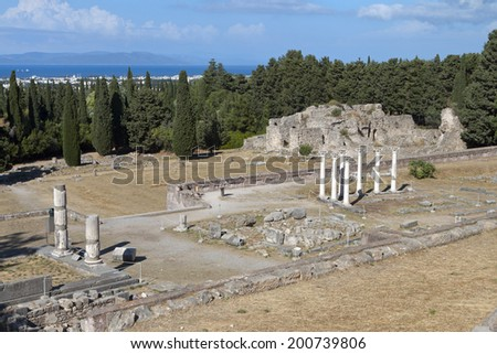 The sanctuary of Asklepius (Asklepieion or Asclepeion) at Kos island in Greece.  - stock photo