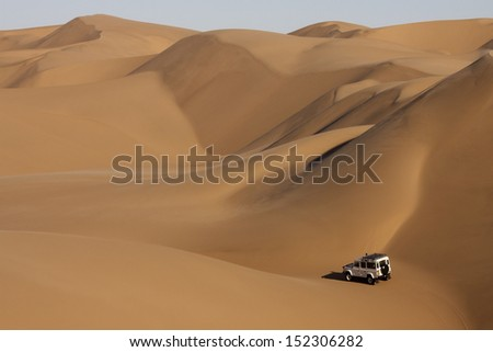 The Sand Dunes of the Namib Desert in Namibia - stock photo