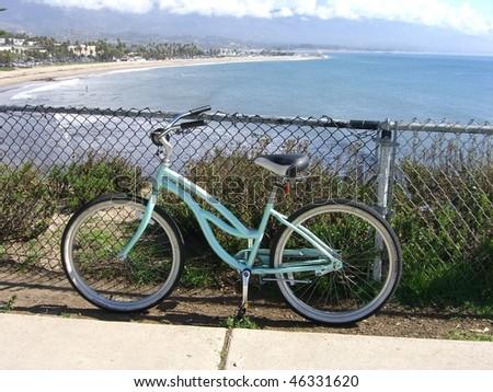 The Santa Barbara coastline with foreground bike - stock photo