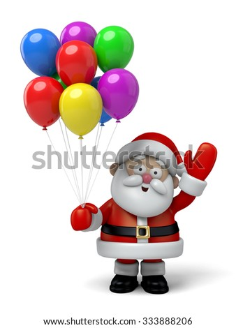 The Santa Claus and a lot of colourful balloons - stock photo