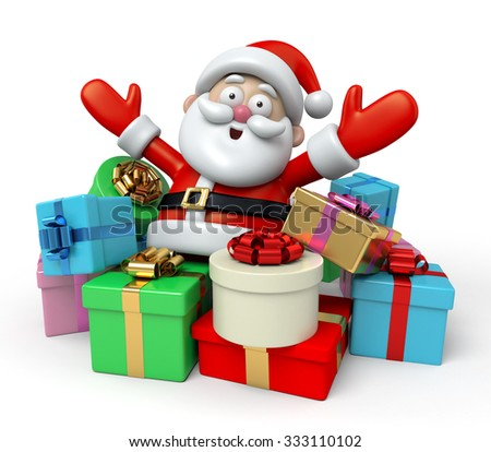 The Santa Claus and a lot of gifts - stock photo