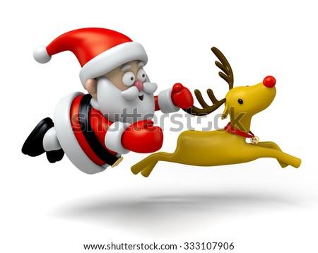 The Santa Claus and the Santa deer - stock photo