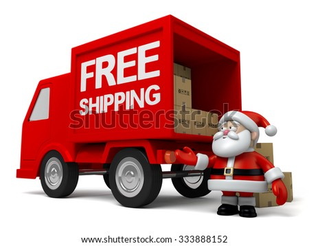 The Santa Claus is a courier - stock photo