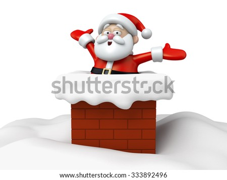 The Santa Claus is drilling down the chimney - stock photo