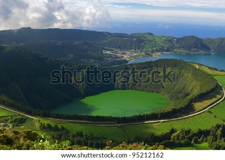 The Santiago Lagoon, and the Blue Lagoon behind, at Sete Cidades, Azores, San Miguel, Portugal - stock photo