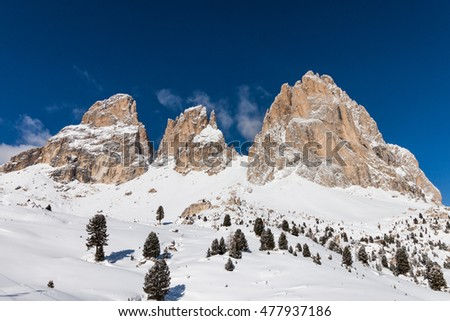 The Sassolungo (Langkofel) Group of the Italian Dolomites in Winter