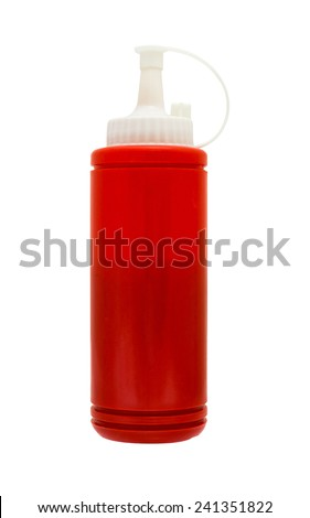 The sauce is ketchup squeeze bottle inside. isolate with selection path - stock photo